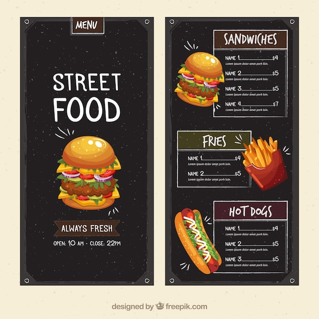 Food Menu Template | Street Food Menu Template Vector Free Download
