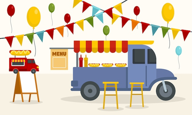 Street food truck background Premium Vector