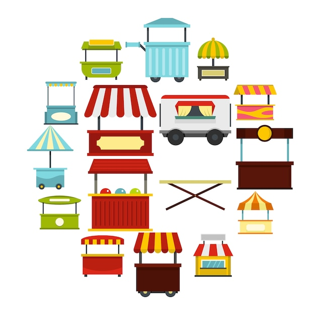 Street food truck icons set in flat style Premium Vector