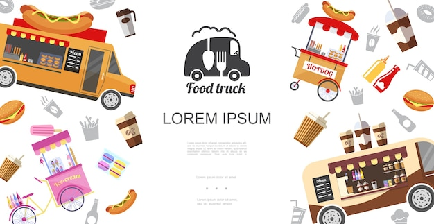 Street food trucks and carts template Free Vector