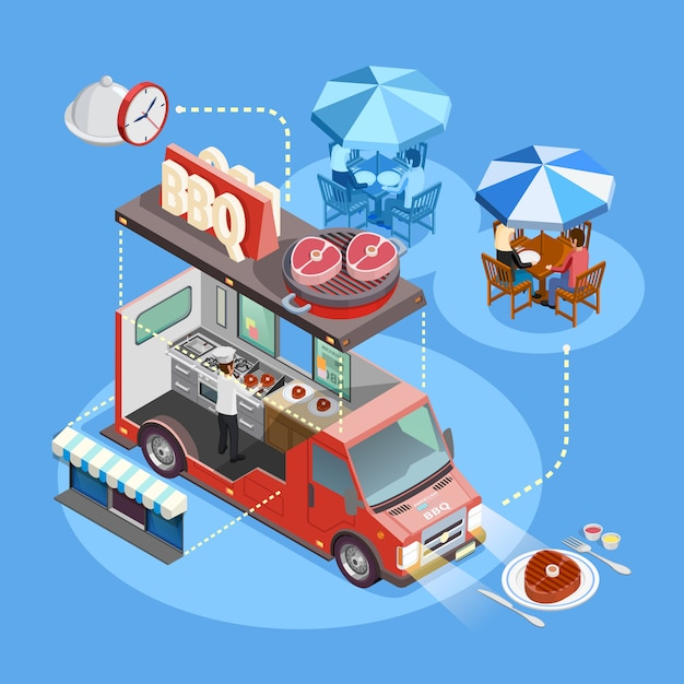 Street food trucks service isometric poster Free Vector
