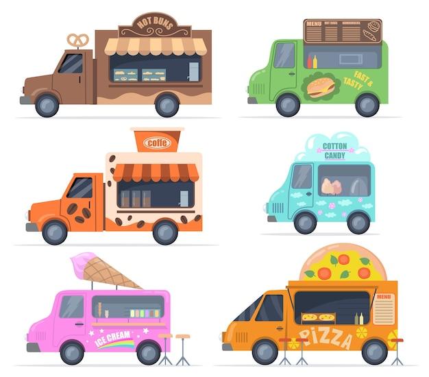 길거리 음식 트럭 세트. 패스트리, 패스트 푸드, 솜사탕, 커피, 아이스크림, 피자를 판매하는 다채로운 버스. 케이터링, 야외 카페, 메뉴, 음식 박람회 개념에 대한 벡터 일러스트 모음 무료 벡터