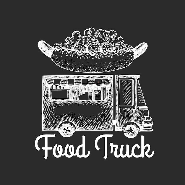 Street food van logo template. hand drawn  truck with fast food illustration on chalk board. engraved style hot dog truck retro design. Premium Vector