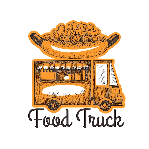 Street food van logo template. hand drawn  truck with fast food illustration. engraved style hot dog truck retro . Premium Vector