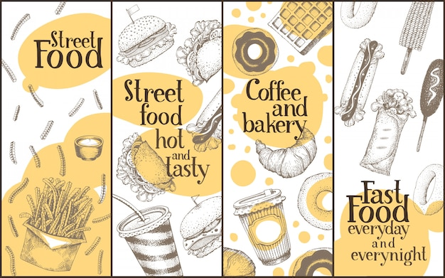 Street food vector banners set. Premium Vector