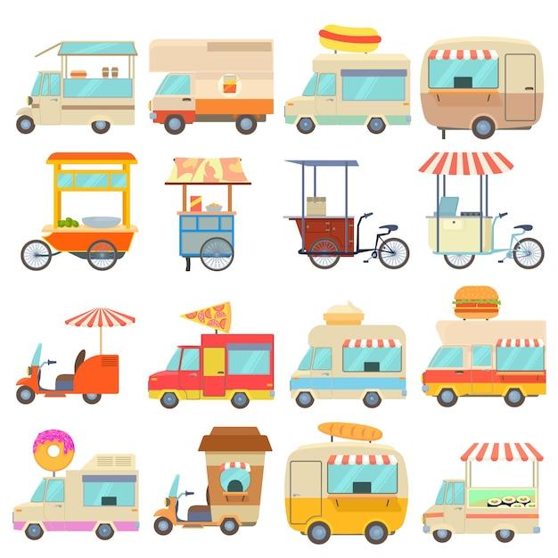 Street food vehicles icons set Premium Vector