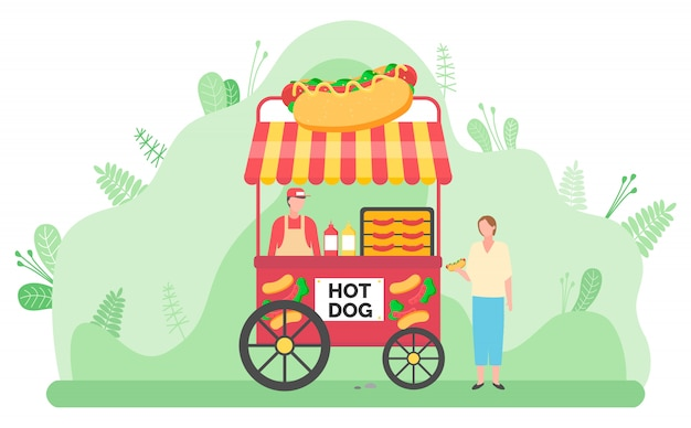 Street food vending cart with hot dogs Premium Vector