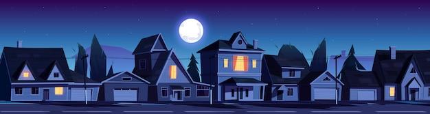 밤에 집들이있는 교외 지역의 거리 무료 벡터