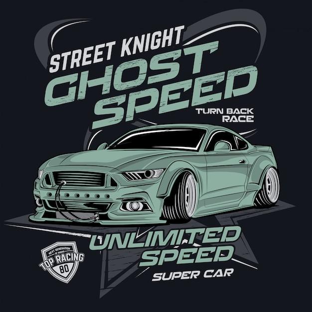 Street knight ghost speed, vector car illustration Premium Vector