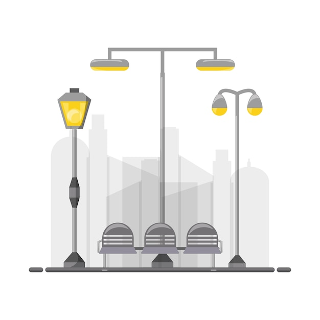 Street lamps and chair icon Premium Vector