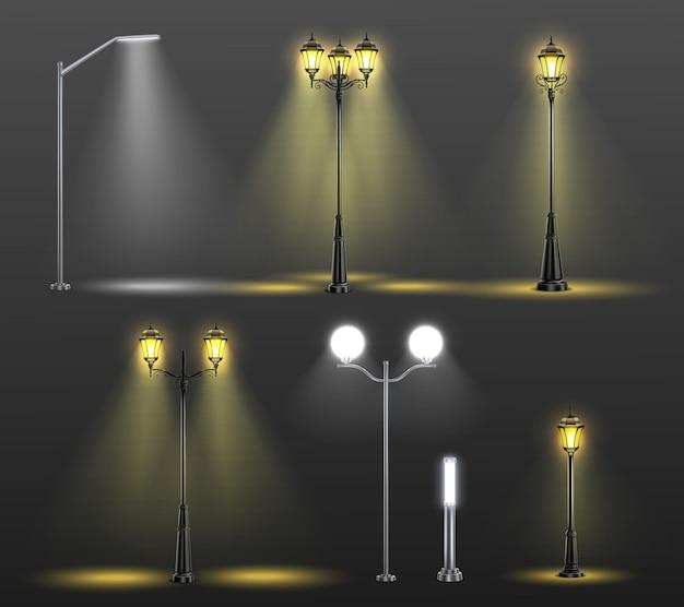 6つの異なるスタイルと電球の図からの光で設定された街路灯現実的な構成 無料ベクター