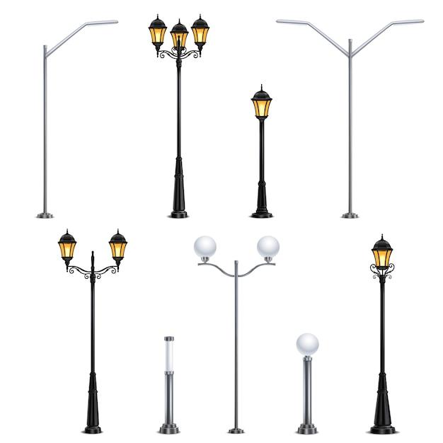 L'icona realistica dell'iluminazione pubblica ha messo su fondo bianco negli stili differenti per l'illustrazione della città Vettore gratuito