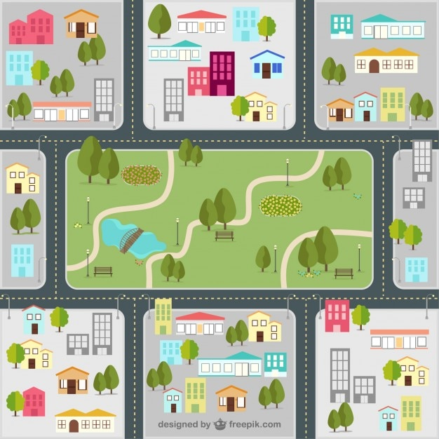 Street map of the city Premium Vector