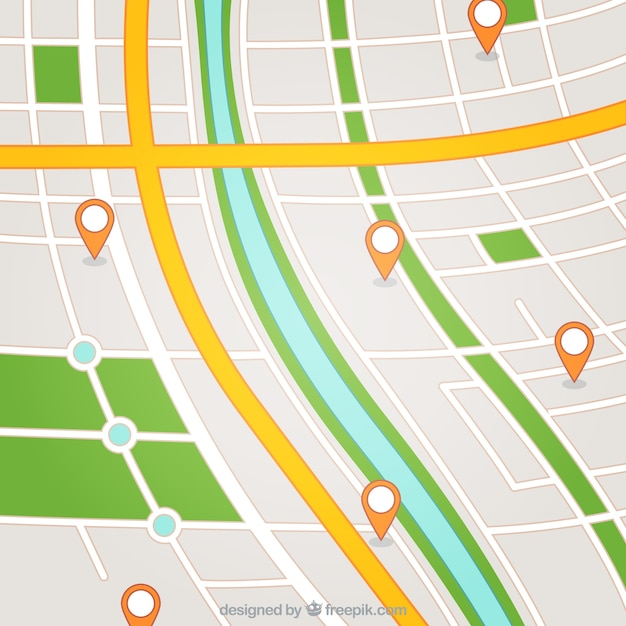 Street map with pointers Free Vector