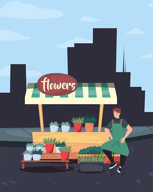 Street market commerce flat design Premium Vector