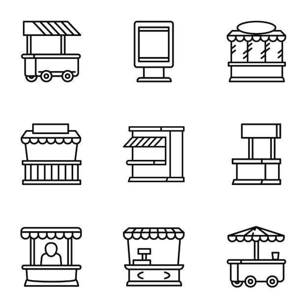Street market icon set, outline style Premium Vector