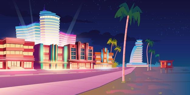 Street in miami with hotel and sand beach at night Free Vector