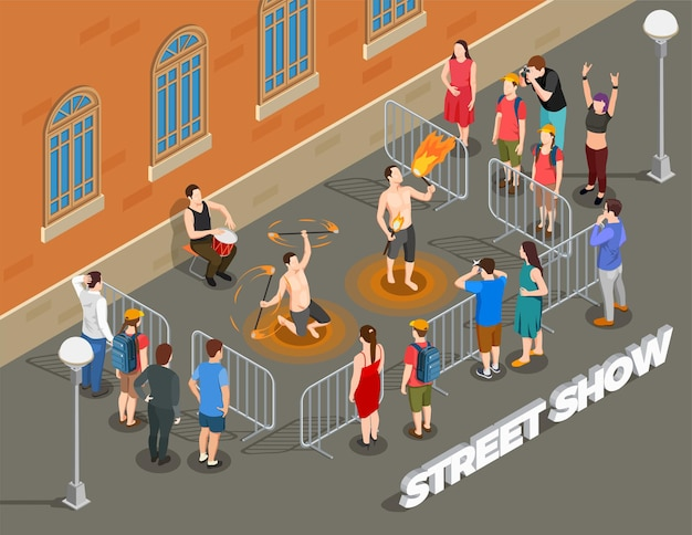 Street performance isometric composition with fire show under rhythm of drum and viewers Free Vector