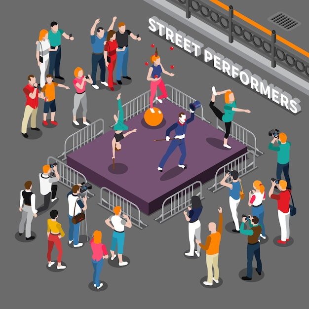 Street performers isometric composition Free Vector
