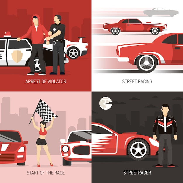 Street racing concept backgrounds with characters Free Vector