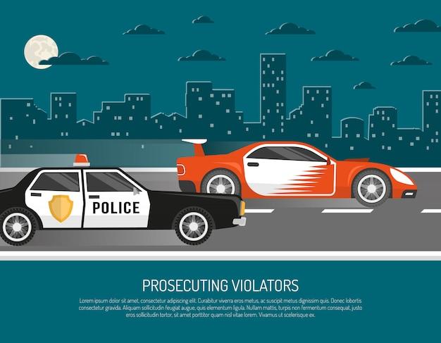 Street racing violation scene flat poster Free Vector
