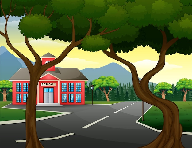 Street scene with school building and green nature Premium Vector
