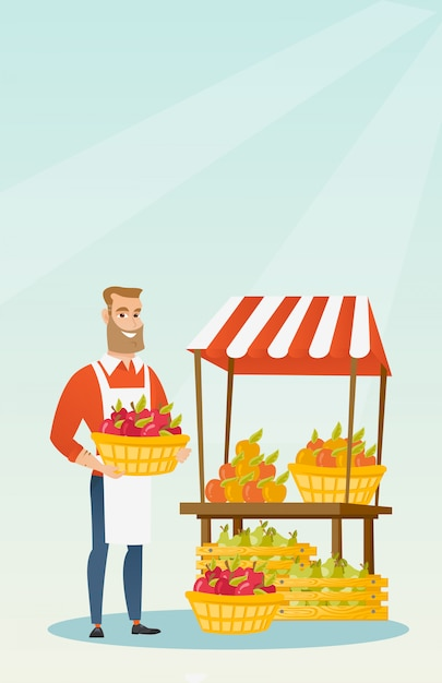 Street seller with fruits and vegetables. Premium Vector