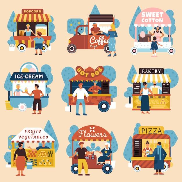 Набор покупателей уличных продавцов Бесплатные векторы