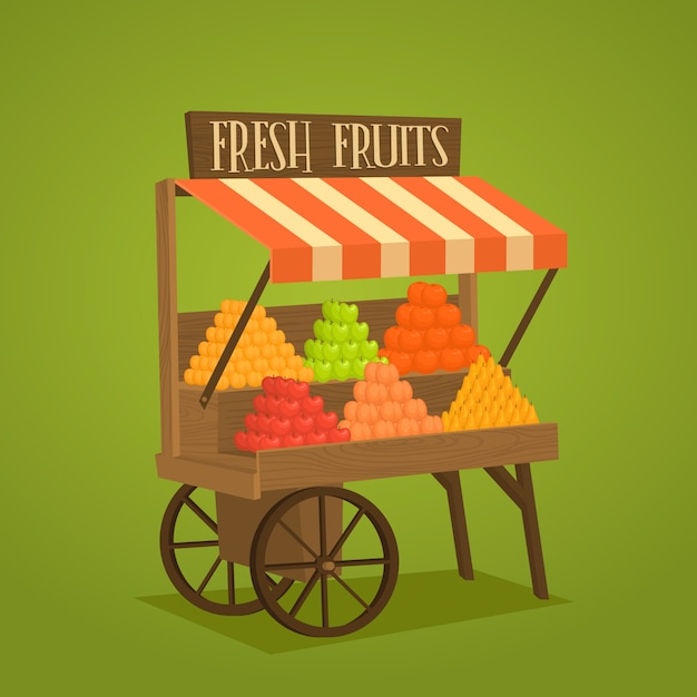 Street shop on wheels with vegetables and fruits Premium Vector