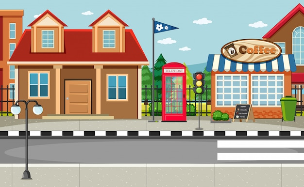 Street side scene with house and coffee shop scene Free Vector