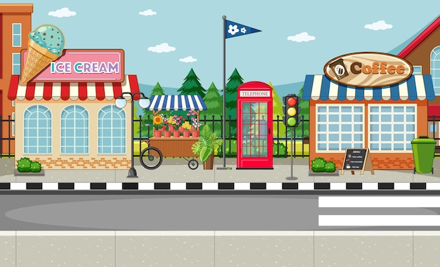 Street side scene with ice cream shop and coffee shop scene Free Vector