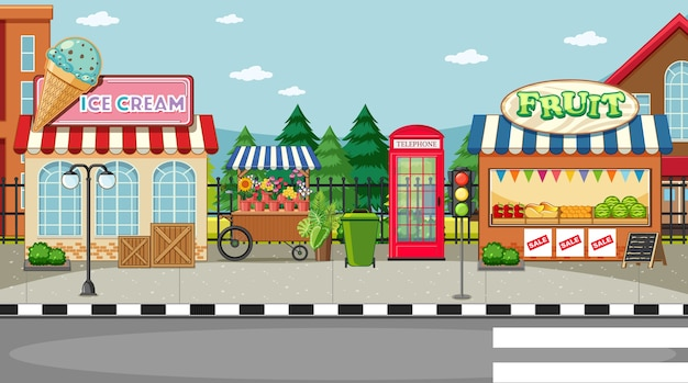 Street side scene with ice cream shop and fruit shop Free Vector