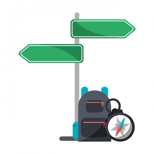 Street sign post backpack and navigation compass Premium Vector