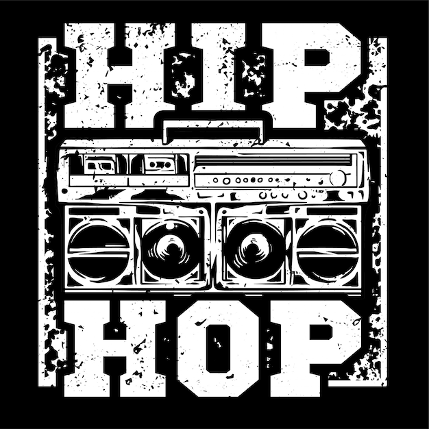 premium vector | street style black white print with big boombox for hip hop  or rap music type.  freepik