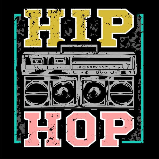 Красочный принт уличного стиля с большим бумбоксом для хип-хопа или рэпа. для дизайна одежды напечатайте на футболке бомбардировщик с одинарной толстовкой и наклейкой для плаката. подземный стиль Premium векторы