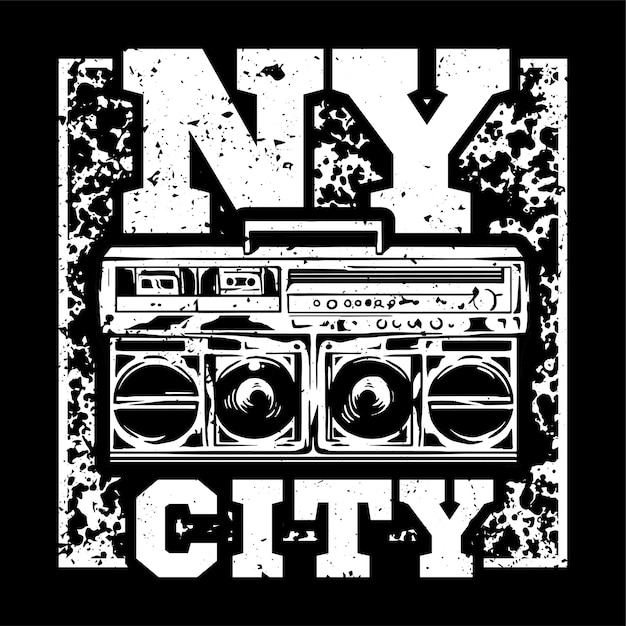 Street style monochrome print design with big boombox and with nyc type. Premium Vector