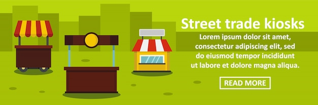 Street trade kiosks banner template horizontal concept Premium Vector