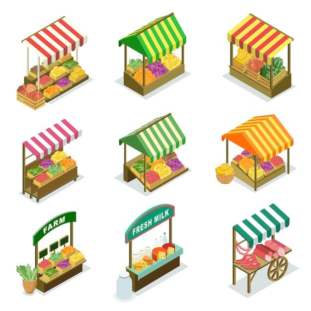 露店ブースと農産物市場の食品カウンター Premiumベクター