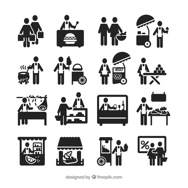 Street vendor icons Free Vector
