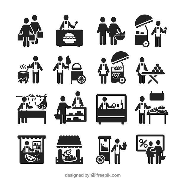 Street vendor icons Free Vector