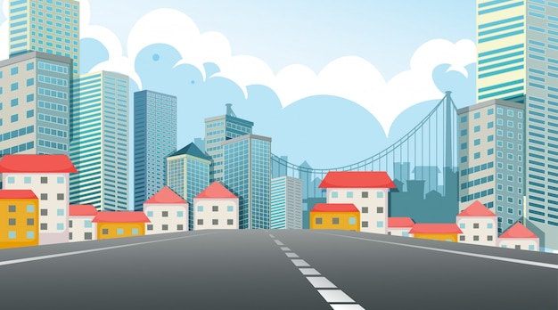 Street view city scene Free Vector