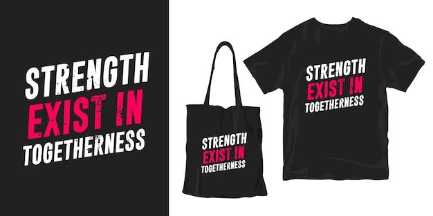 強さは一体に存在します。引用タイポグラフィポスターtシャツマーチャンダイジングデザイン Premiumベクター