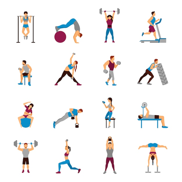 Strength training workout set Free Vector