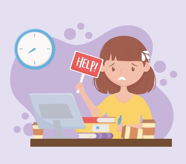 Стресс на работе, взволнованная работница с помощью плаката в офисе Premium векторы