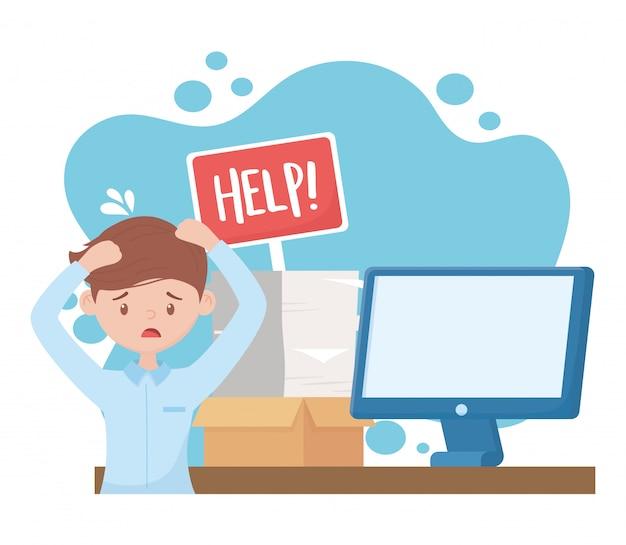 Стресс на работе, беспокоит человека с помощью бортовой компьютер документы стека Premium векторы