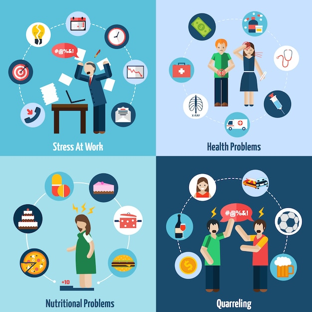 Stress depression 4 flat icons square Free Vector
