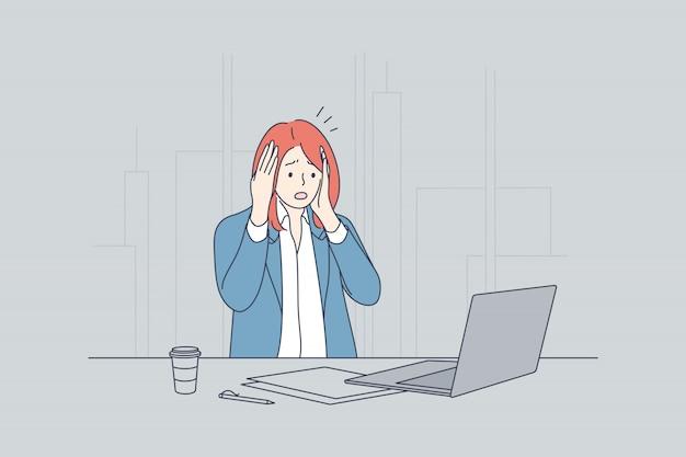 ストレス、欲求不満、うつ病、恐怖、ビジネス、過労、締め切りのコンセプト Premiumベクター
