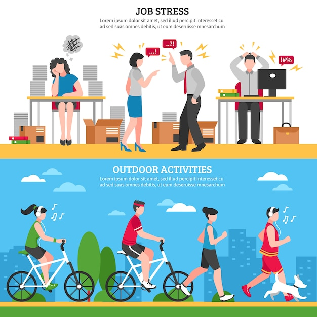 Stress and relaxation banners Free Vector