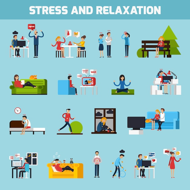 Stress and relaxation collection Free Vector