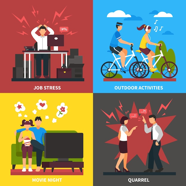 Stress and relaxation flat design concept Free Vector